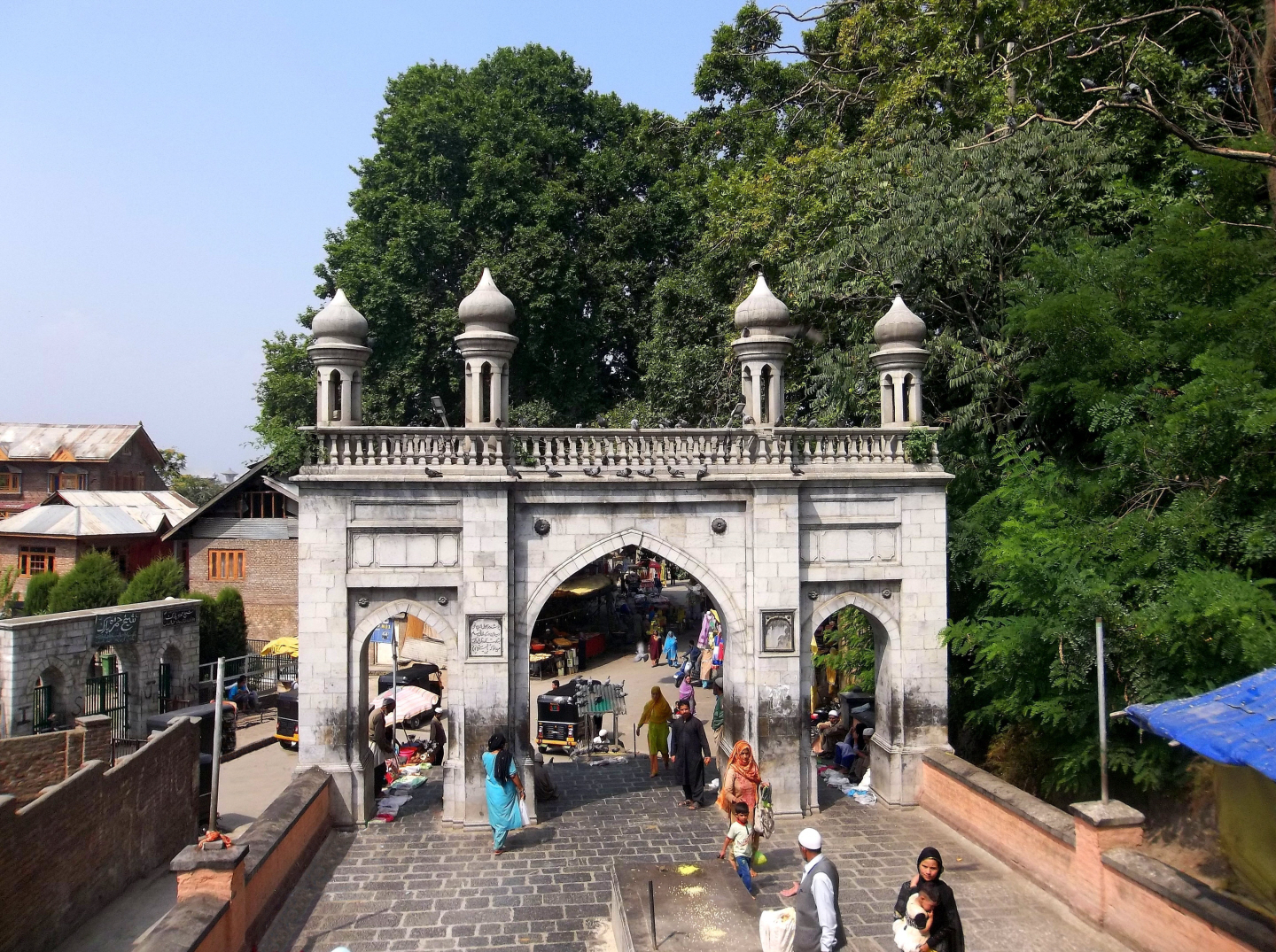 Entrance at the Bottom of the Hill to Shrine of Makhdoom Sahib - Srinagar, Kashmir