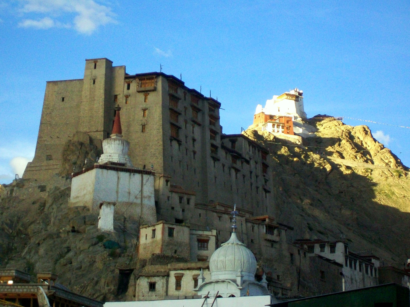 Foreground Dome of Sikh Gurdwara (not yet completed), Buddhist Stupa - Leh, Ladakh - India